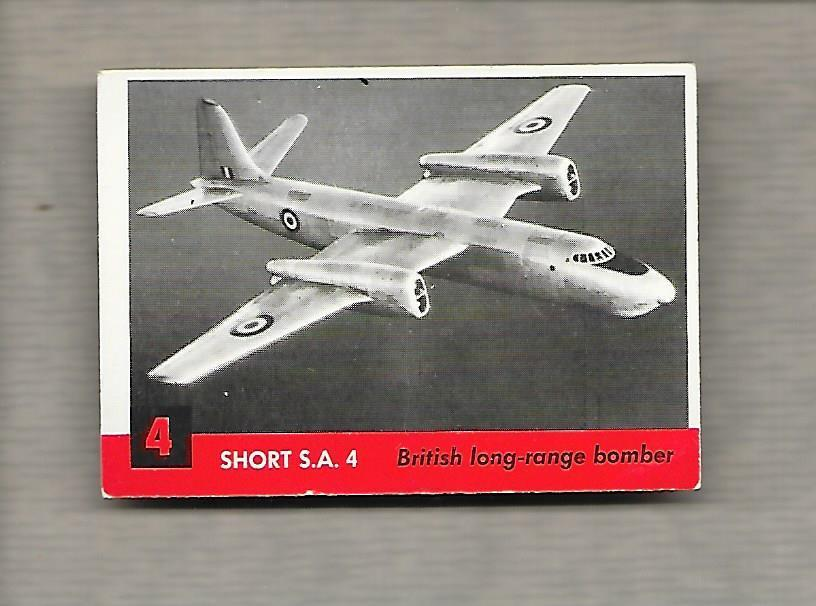 Topps Jets #4 Gum Card Short SA 4 1956 British Long Range Bomber g1181