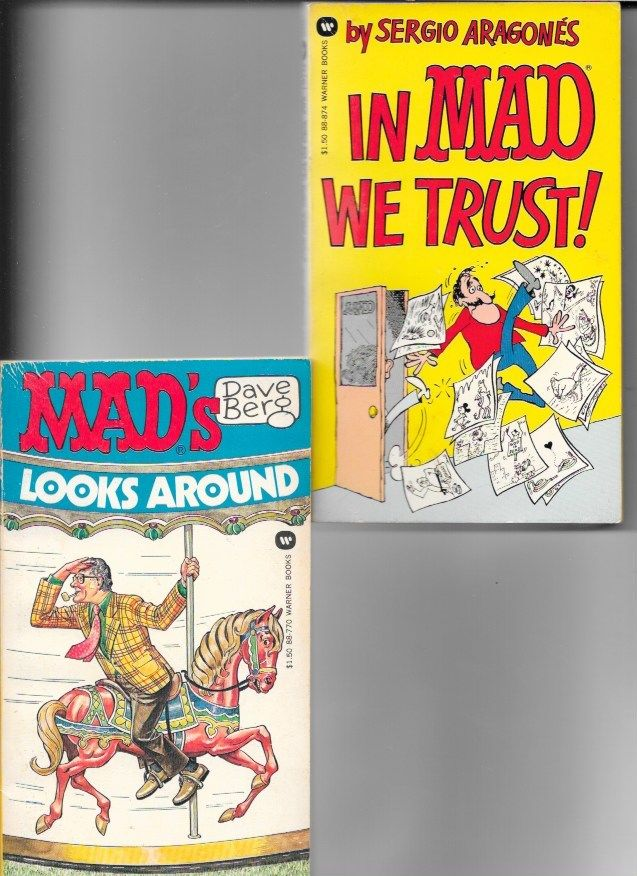 2 MAD MAGAZINE PAPERBACKS IN MAD WE TRUST 1974 & LOOKS AROUND 1975