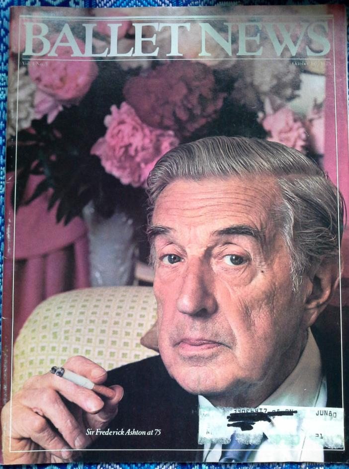 Vtg magazine Ballet News, Oct. 1979 Sir Frederick Aston at 75, glossy, color