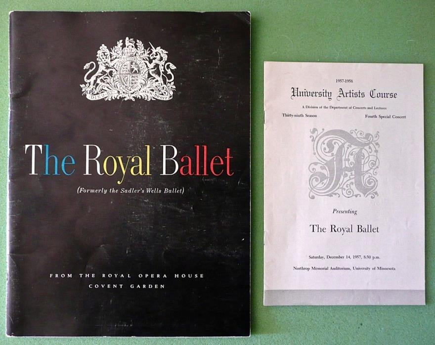 THE ROYAL BALLET 1957-58 Season Souvenir Book plus a Performance Program U. MN