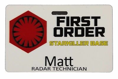 Undercover Boss / Matt Radar Technician / Kylo Ren Cosplay Prop Badge