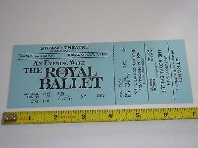 THE ROYAL BALLET 1965 UNUSED THEATER TICKET STRAND THEATRE BINGHAMTON, NEW YORK