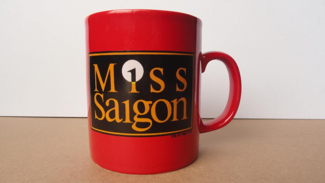 MISS SAIGON Red Souvenir Mug 1988 West End London Broadway Musical Lea Salonga