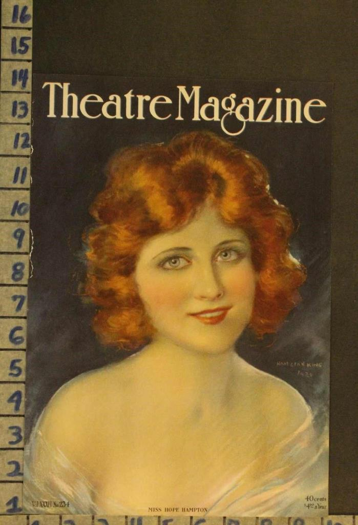 1920 THEATER HOPE HAMPTON ACTRESS SILENT FILM FLAPPER ILLUS KING COVER RH51