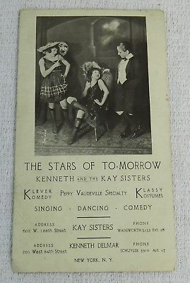 Antique Kenneth & The Kay Sisters Vaudeville New York Advertising Card Children