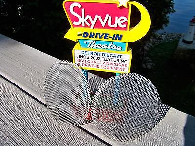 2 NOS RCA Mark II Perforated Drive-In Movie Speaker Cone Inner Grill Screens