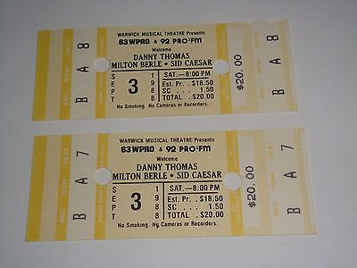 DANNY THOMAS MILTON BERLE SID CAESAR 2 UNUSED CONCERT SHOW COMEDY TICKETS USA