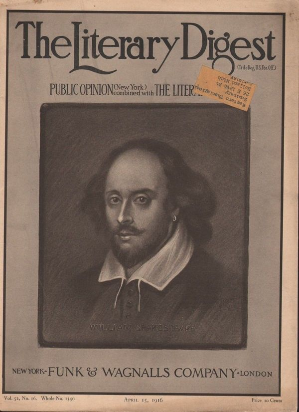 1916 WILLIAM SHAKESPEARE LONDON PLAYWRIGHT ACTOR THEATER STAGE COVER 19262