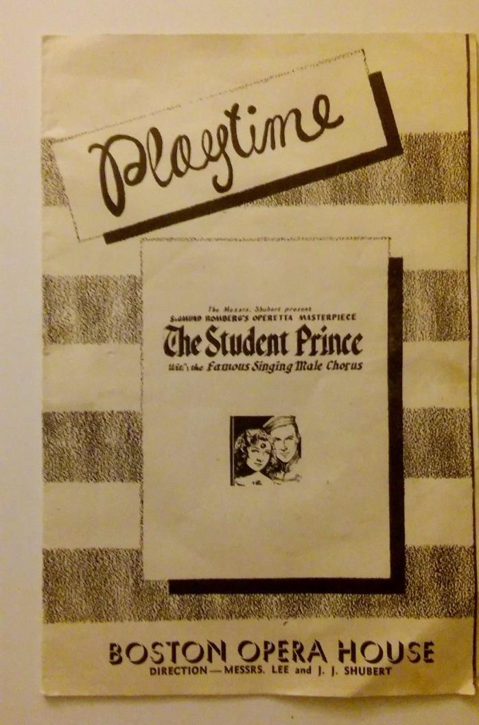 BOSTON OPERA HOUSE VINTAGE EPHEMERA 1946 PLAYBILL FOR THE STUDENT PRINCE/ ADS