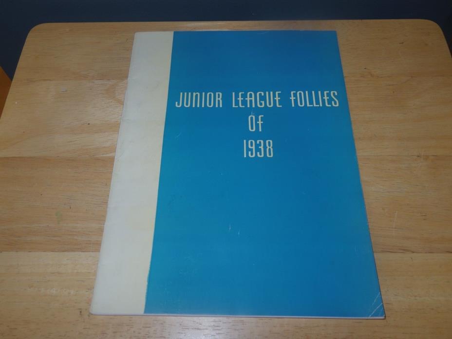 Vintage Junior League Follies of 1938 Souvenir Program - Aqua/White - Used/GC
