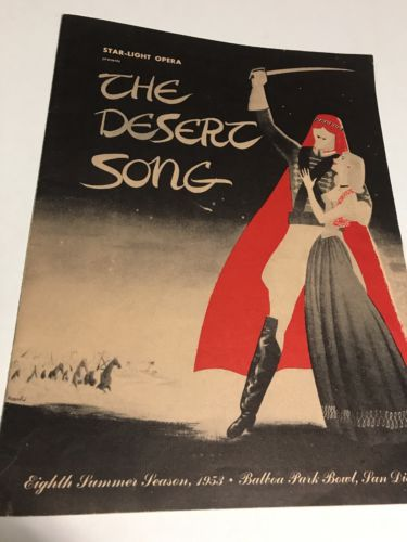 Vintage Sheet OPERA 1953 PROGRAM Broadway San Diego 10 Pgs THE DESERT SONG
