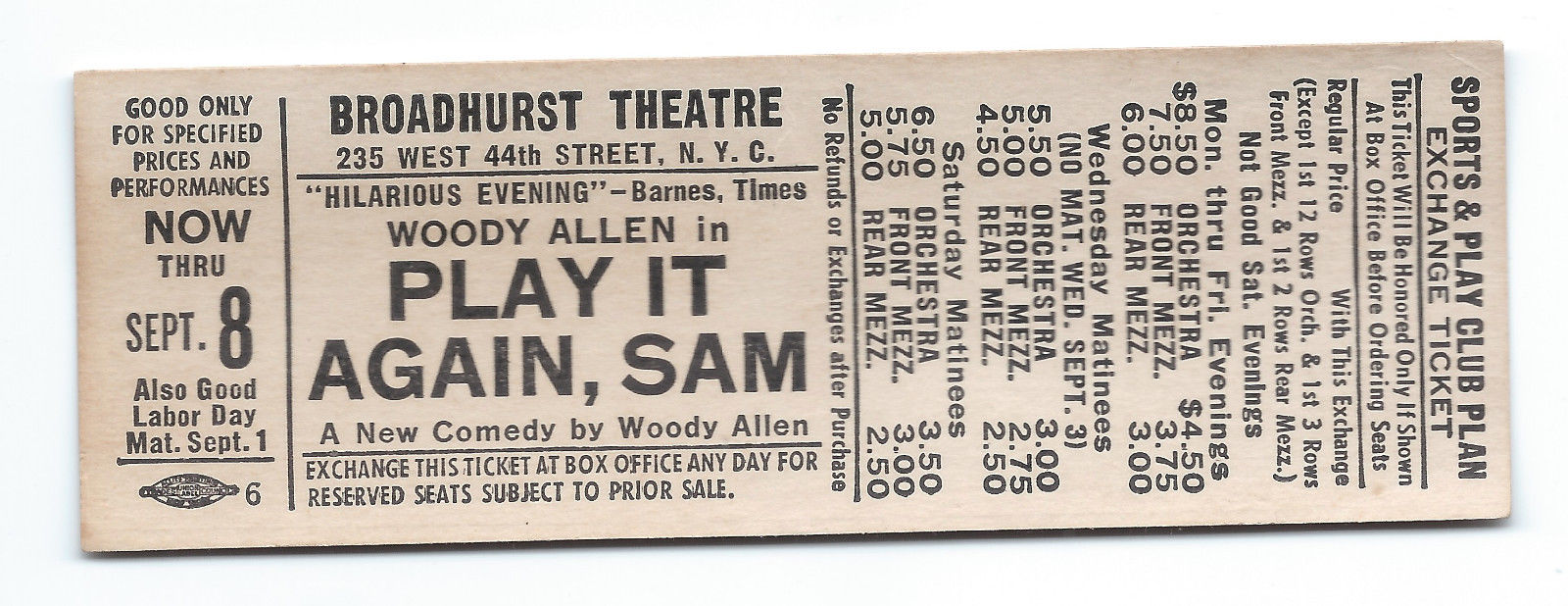 1969 Woody Allen ticket stub from