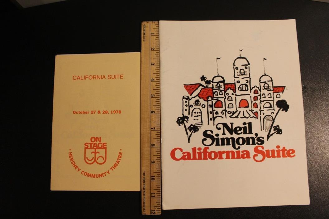 California Suite Hershey Community Theatre Oct 27 & 28, 1978 & Souvenir Program