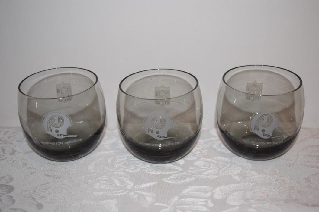 Vintage Washington Redskins 1970 Shell Smokey Rocks 3 Glasses Roly Poly Barware