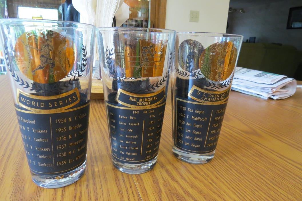 VINTAGE COLLECTIBLE SPORTS DRINKING GLASSES 1940S-1950S BASEBALL GOLF BOXING
