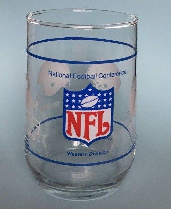 NFL Vintage Glass Western Division 49ERS FALCONS SAINTS LA RAMS **USED**