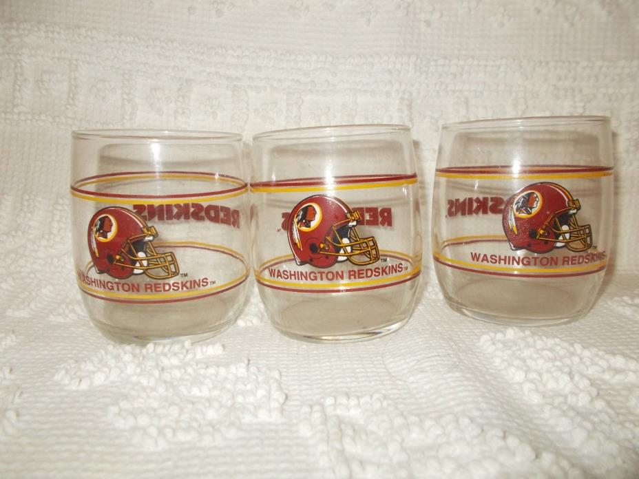 Washington Redskins Vintage NFL Football Cocktail Drinking Glass Set of 3