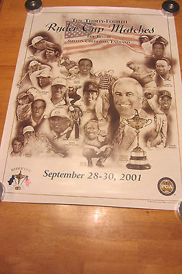34th Ryder Cup Matches Golf Lithograph Print Tiger Woods Phil Mickelson 2001