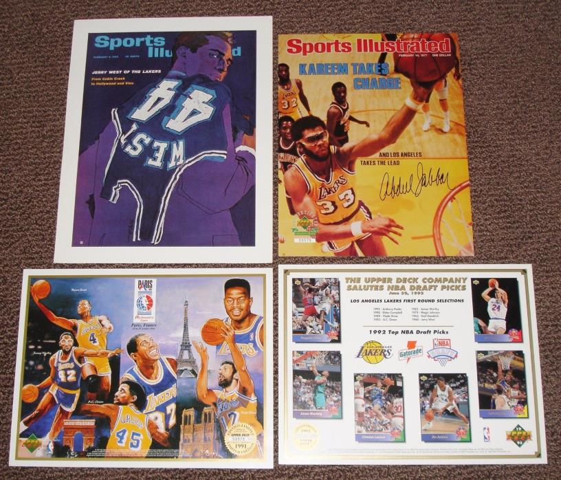 4 Lakers Lithograph Lot Upper Deck Magic Johnson Jersey West SI Kareem Shaq