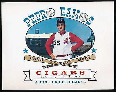 1962-64 BASEBALL Advertising CIGAR BOX LABEL-PEDRO RAMOS (Cleveland Indians)