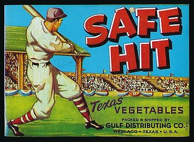 1940-60 SAFE HIT Brand *Texas Vegetables* -BASEBALL Advertising BOX/CRATE LABEL