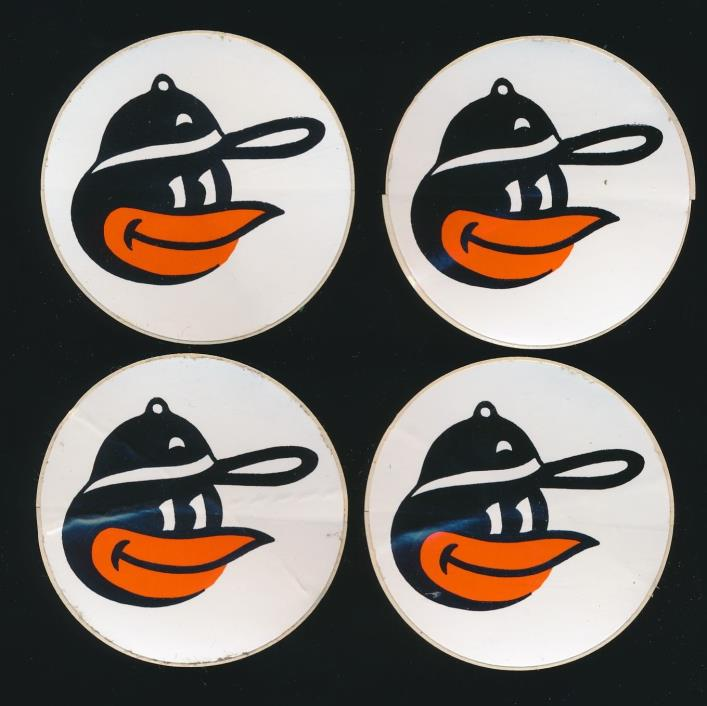 1960's Vintage Stickers x4 -BALTIMORE ORIOLES *Original Decal/Sticker* -UNUSED