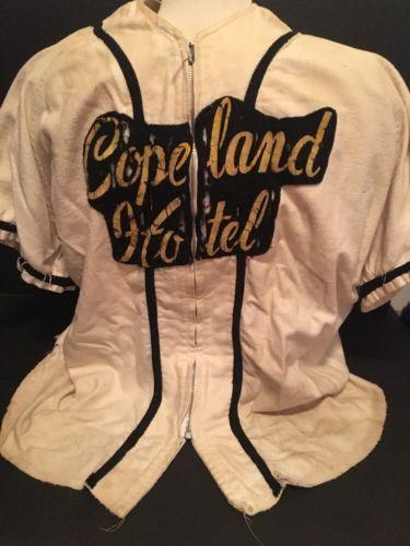 Vintage 1940's Copeland Hotel Wool Flannel Baseball Uniform w/ 2 Pants Pembroke