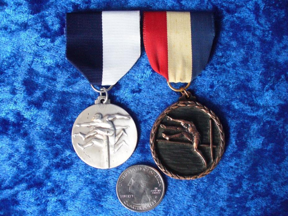 (2) Antique Vintage Mid Century Track & Field Medals Hurdle & Bronze Pole Vault
