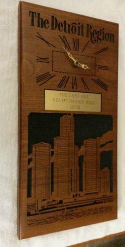 Vintage Detroit Region Novi #1 Nation Wide clock plaque trophy carved wood EXC