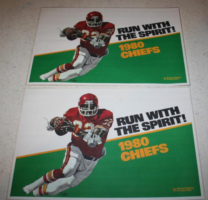 2 Plastic Placemats 1980 Kansas City Chiefs Run with the Spirit! Brown's Chicken