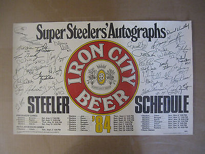 Vintage 1984 Pittsburgh Super Steelers Schedule Autograph Poster Iron City NICE