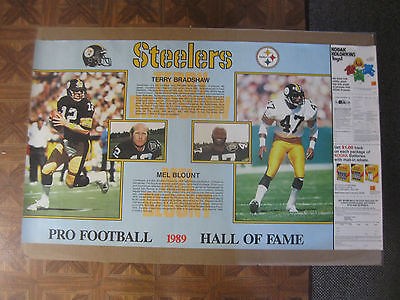 Vintage 1989 Terry Bradshaw & Mel Blount Steelers Hall Of Fame Poster KODAK