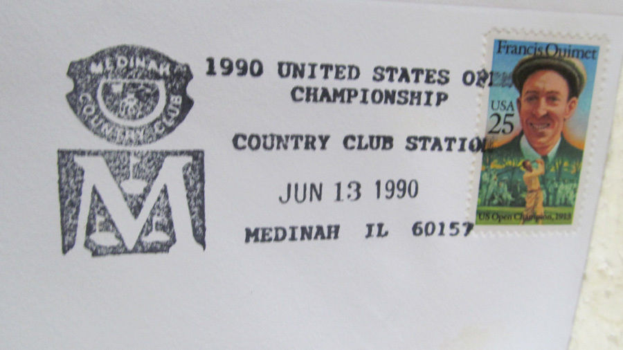 EVENT COVER FROM THE 1990 US OPEN AT MEDINAH C.C. WITH THE FRANCIS OUIMET STAMP