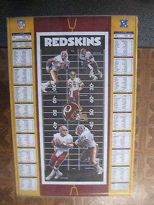 Vintage 1992 Washington Redskins Schedule Poster w/Mark Rypien 24 x 35 Inches