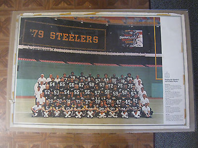 Vintage 1979 Pittsburgh Steelers Team Photo Poster 22 1/2 x 33 1/2 Inches NICE