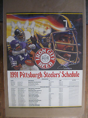 Vintage 1991 Pittsburgh Steelers Schedule Poster w/Joe Greene Iron City EXMT+-NM