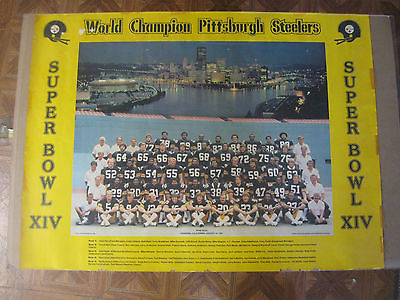Vintage Super Bowl XIV Champions Pittsburgh Steelers Team Poster 24 x 32 NICE