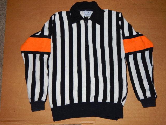 Vintage Bruce Hood Hockey Referee Jersey 44 Black/White & Orange Armband-RARE