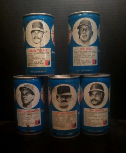 Catfish Hunter, Joe Rudi  Oakland A's RC Cola Cans (TOP OPENED)