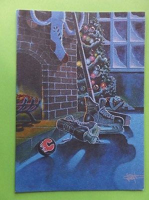 VINTAGE 1980s CALGARY FLAMES National Hockey League CHRISTMAS card NHL EX/MINT+