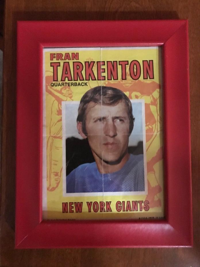 1971 TOPPS VINTAGE FOOTBALL PIN UP POSTER FRAMED  FRAN TARKENTON NY GIANTS