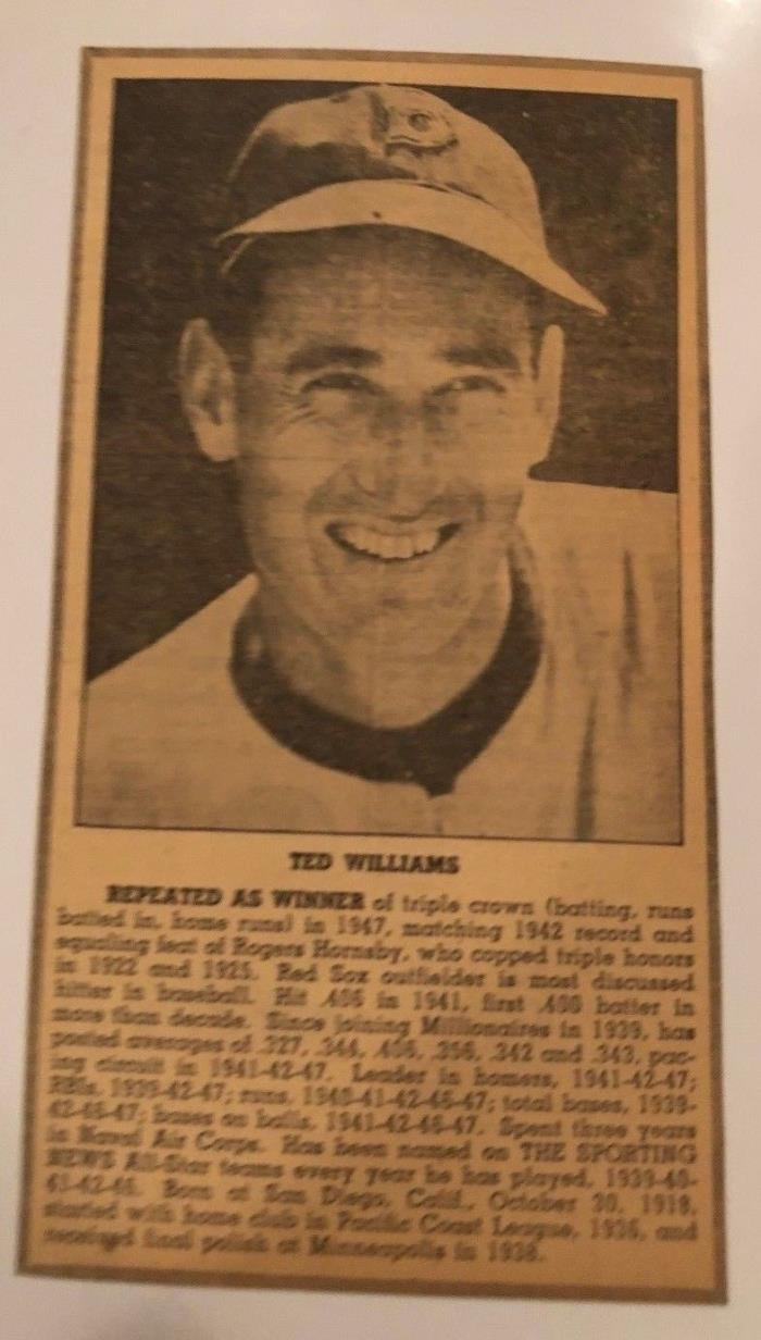 Newspaper Cut-Out Photo of Ted Williams