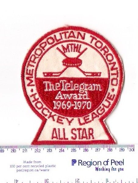 1 Metro Toronto Hockey League,Toronto Telegram All Star Award patch,1969 -1970.
