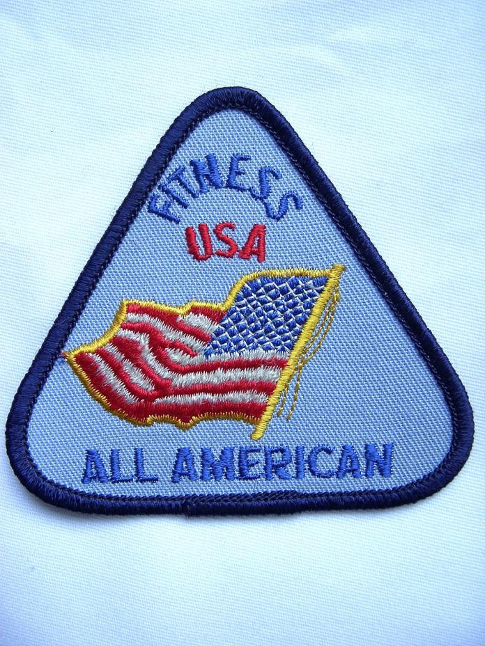 ?? Vintage FITNESS USA All American PATCH Triangle Souvenir Embroidered IRON ON