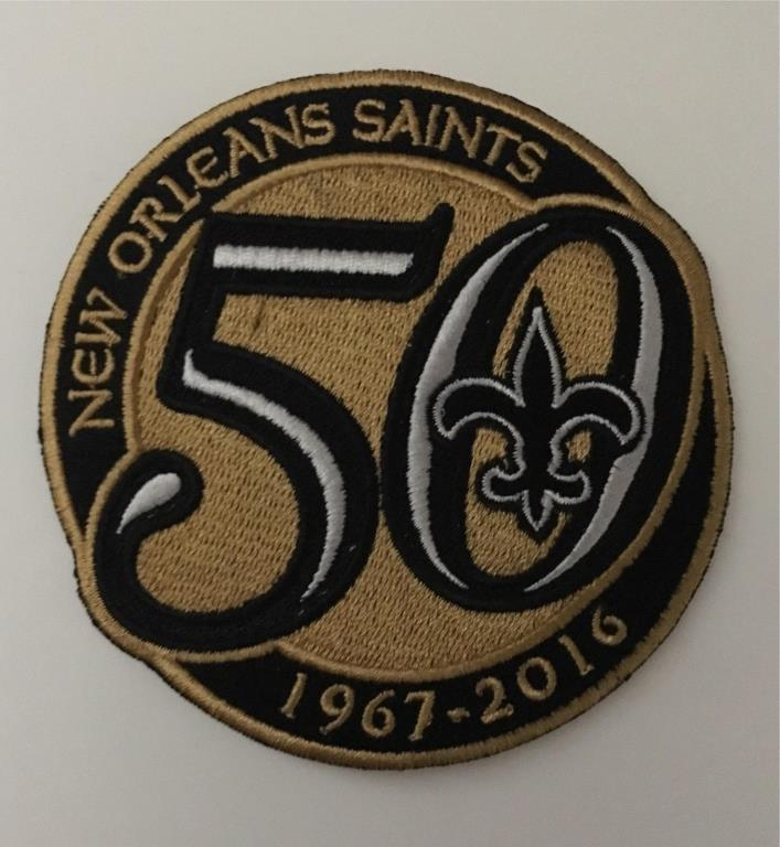 NEW ORLEANS SAINTS 50TH ANNIVERSARY NFL SEASON PATCH EMBROIDERED JERSEY STYLE 4