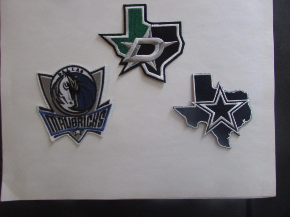 Dallas Stars, Cowboys, Mavericks - 3 Patches - Iron On/Sew On