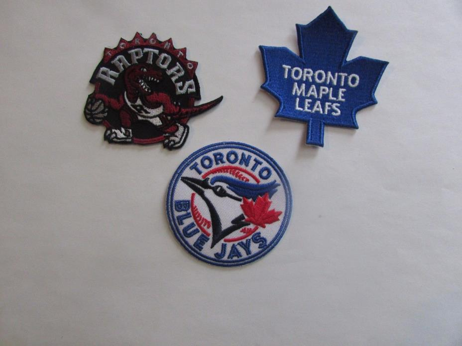 Toronto Raptors, Blue Jays, Maple Leafs - 3 Patches - Iron On/Sew On