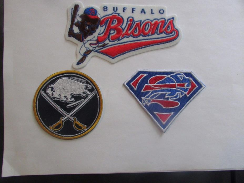 Buffalo Sabres, Bisons, Bills - 3 Patches - Iron On/Sew On