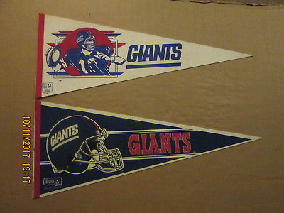 NFL New York Giants Vintage #12 Quarterback & a 1980's 3 Bar Facemask Pennants