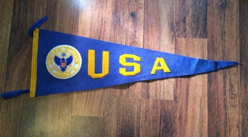 VINTAGE 1960'S US ARMY PENNANT FELT full size sewn letters & Patch excellent